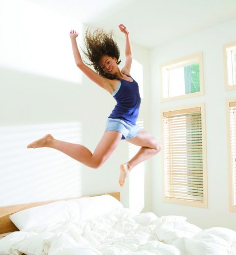jumping on bed out of bed