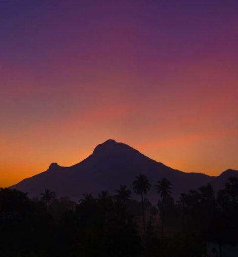 sunrise at arunachala mountain in south india