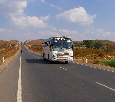 india travel bus on the road